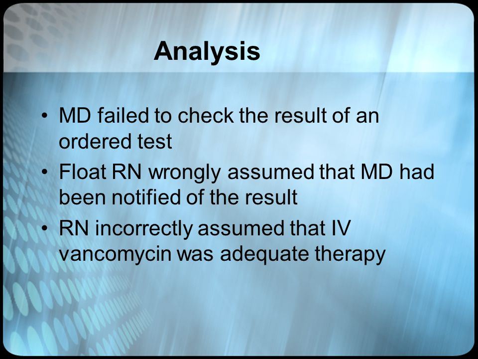 Analysis MD failed to check the result of an ordered test