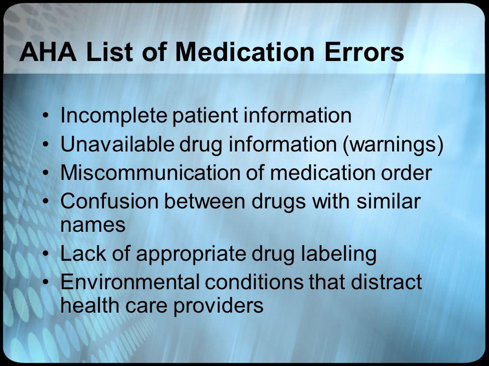 AHA List of Medication Errors