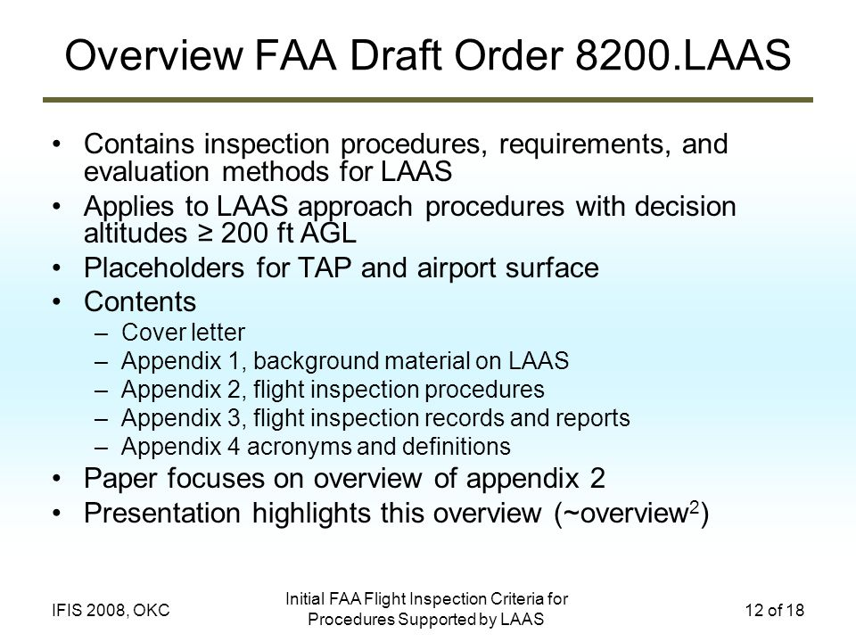 Overview FAA Draft Order 8200.LAAS