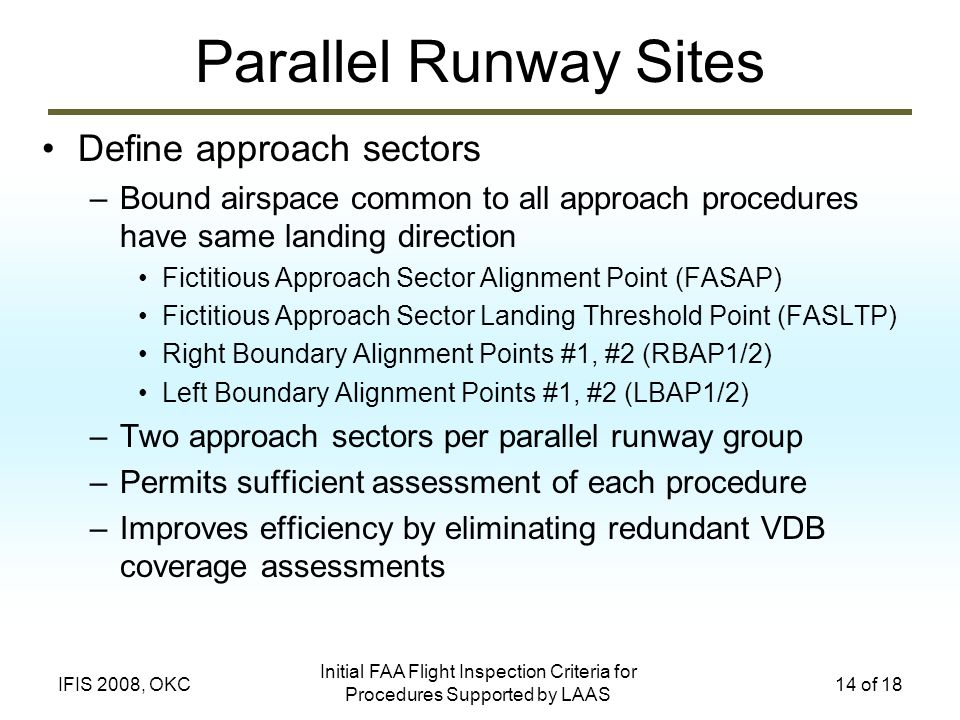 Parallel Runway Sites Define approach sectors