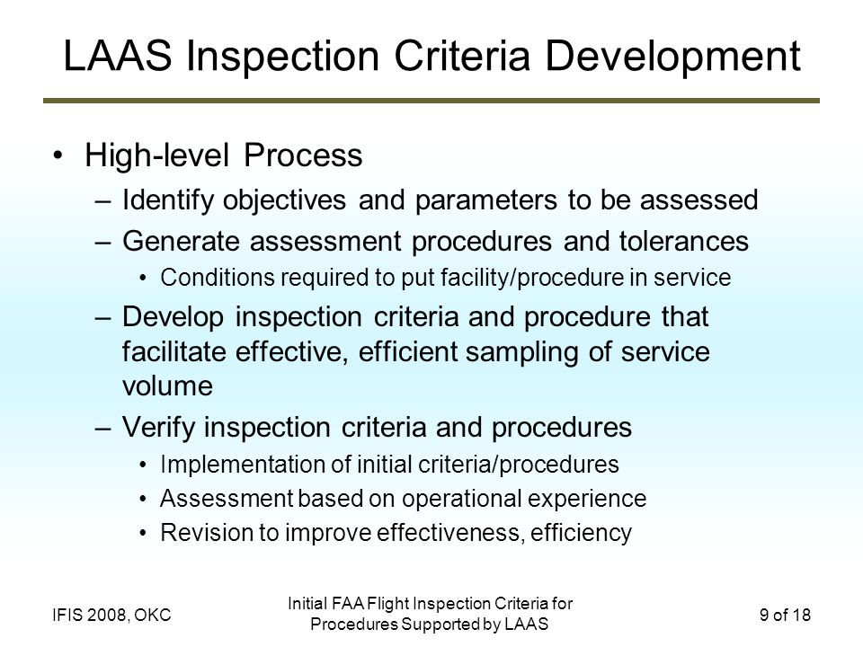 LAAS Inspection Criteria Development