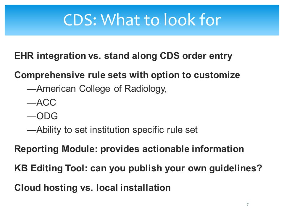 CDS: What to look for EHR integration vs. stand along CDS order entry