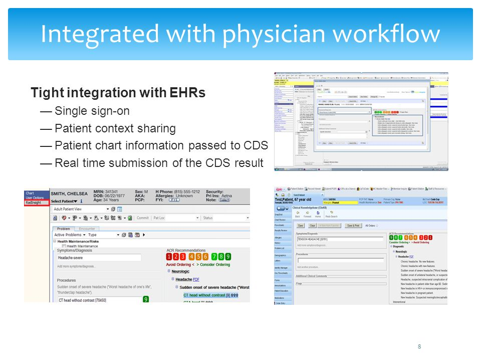 Integrated with physician workflow