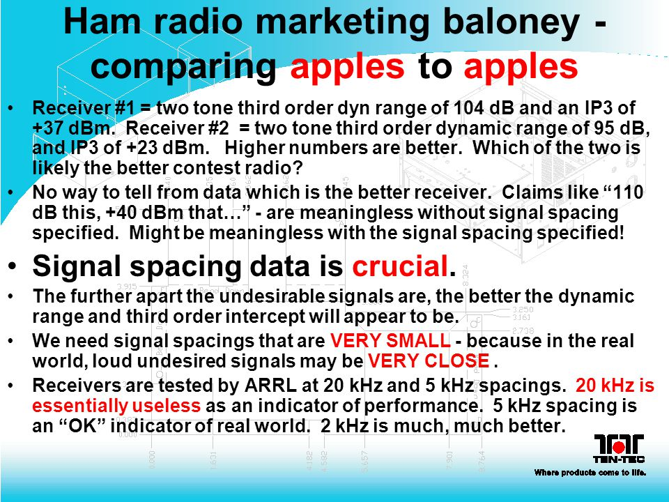 Ham radio marketing baloney - comparing apples to apples