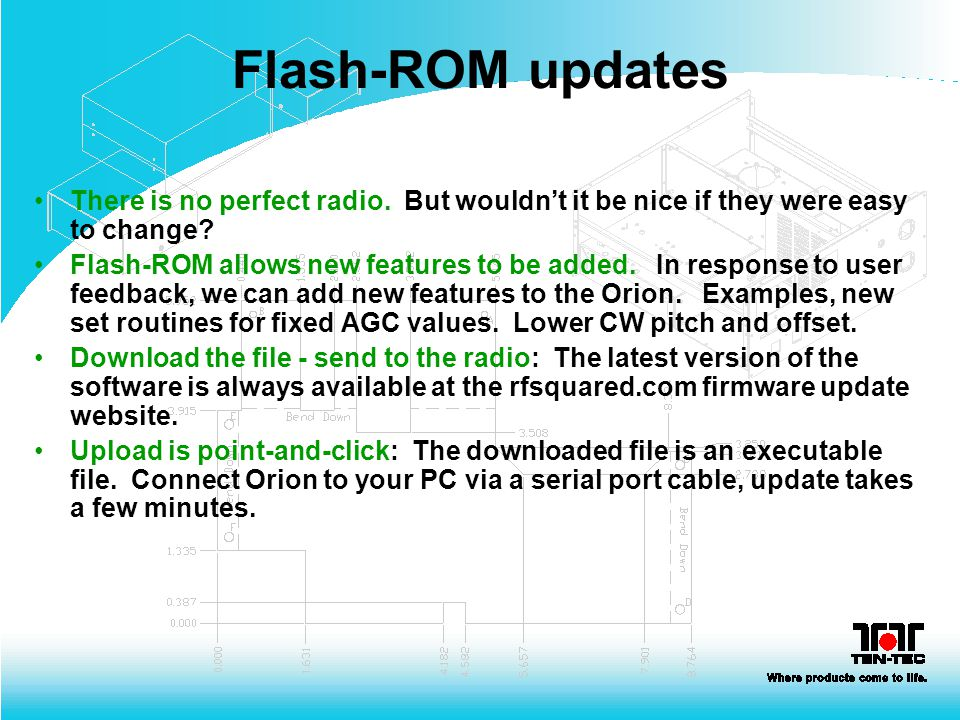 Flash-ROM updates There is no perfect radio. But wouldn't it be nice if they were easy to change