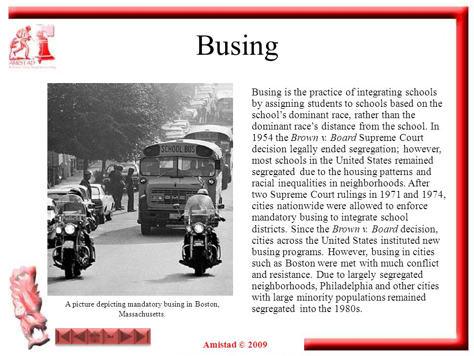 A picture depicting mandatory busing in Boston, Massachusetts.