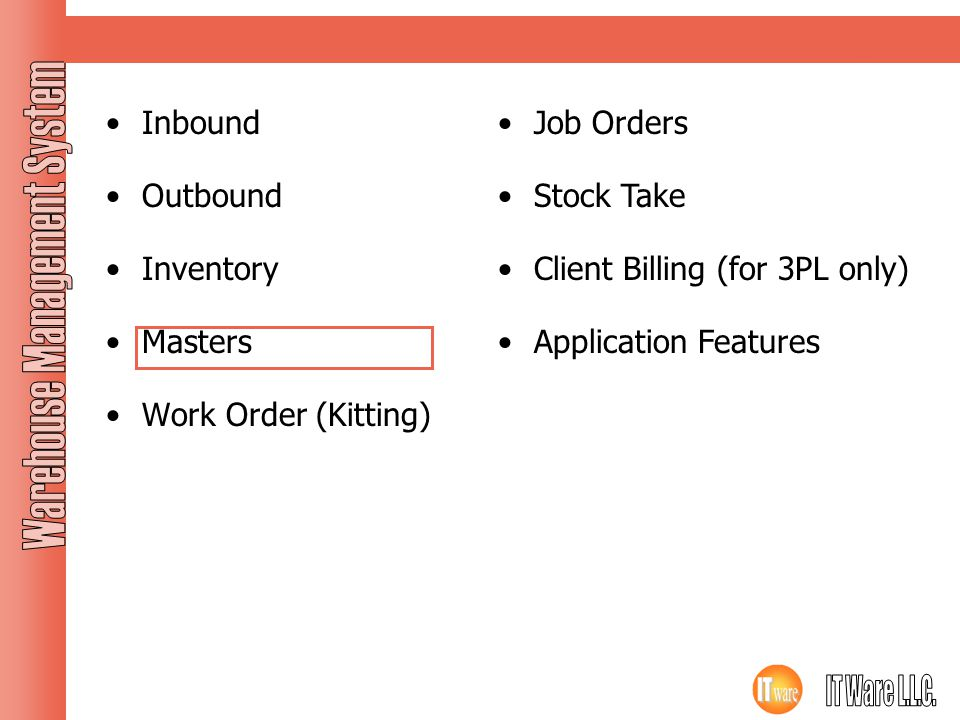Modules Inbound Outbound Inventory Masters Work Order (Kitting)