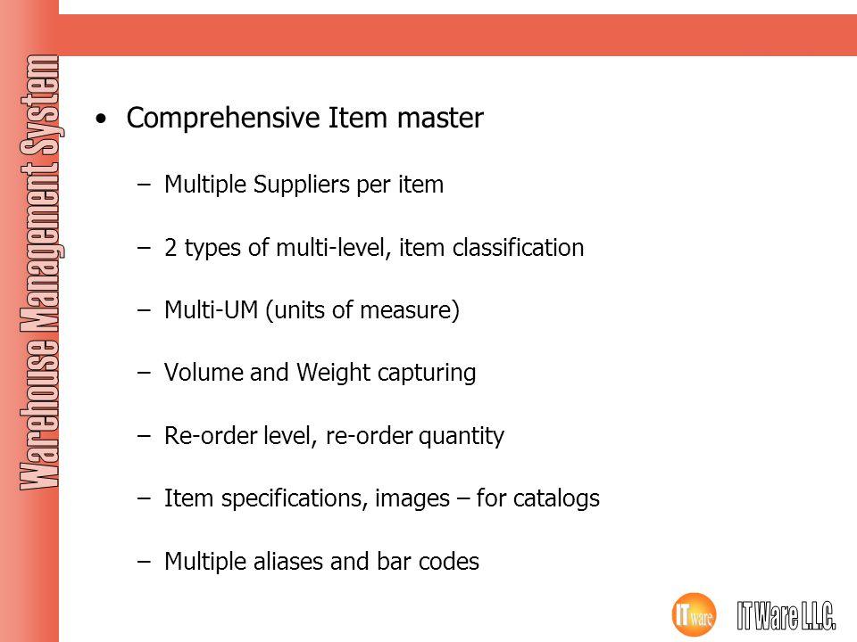 Masters Contd… Comprehensive Item master Multiple Suppliers per item