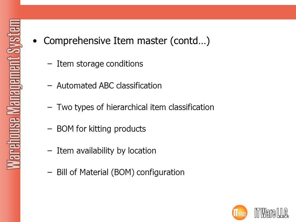 Comprehensive Item master (contd…)