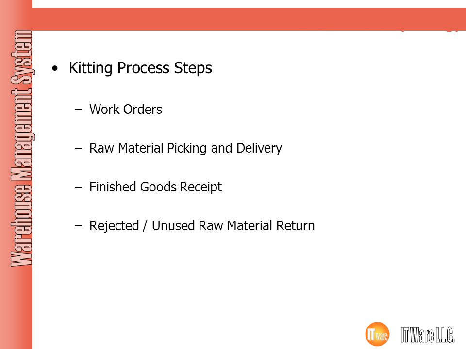 Work Order (Kitting) Kitting Process Steps Work Orders