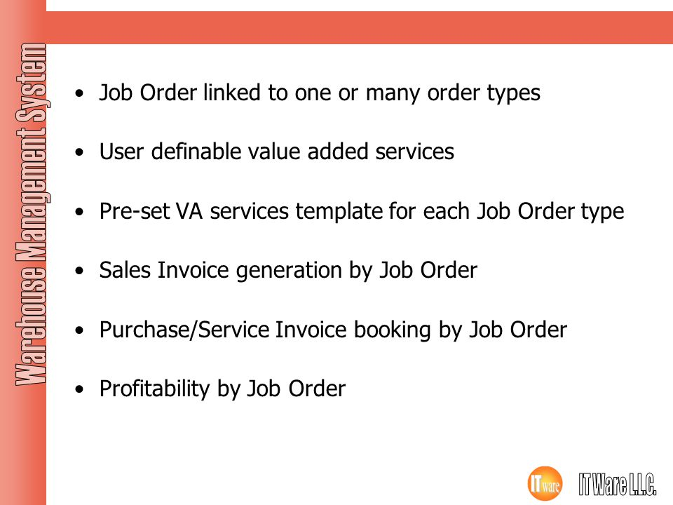 Job Order Job Order linked to one or many order types