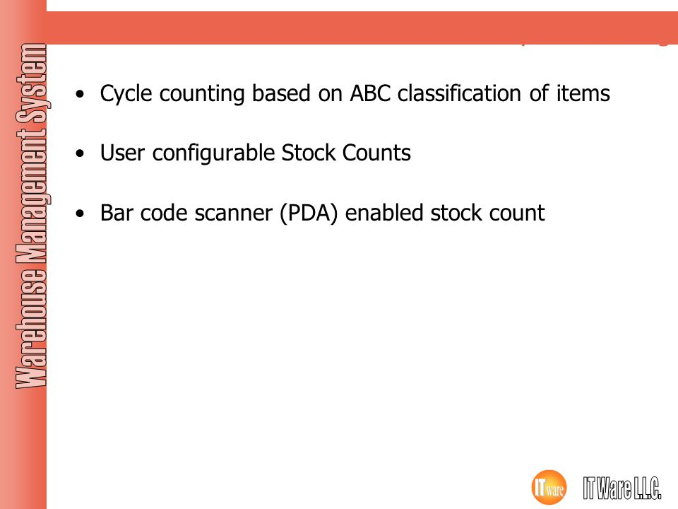 Cycle counting Cycle counting based on ABC classification of items