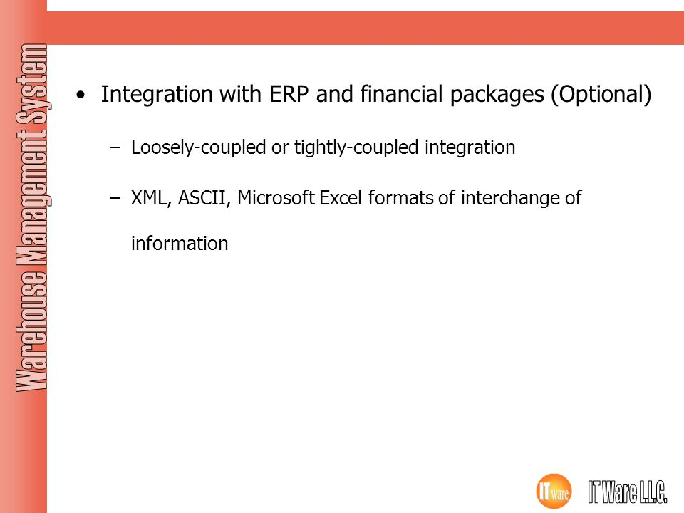 Integration with ERP and financial packages (Optional)