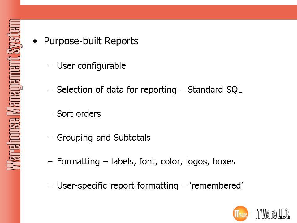 Purpose-built Reports