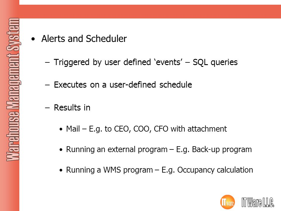Application Features Alerts and Scheduler