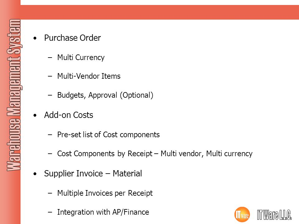 Purchase Order Purchase Order Add-on Costs Supplier Invoice – Material