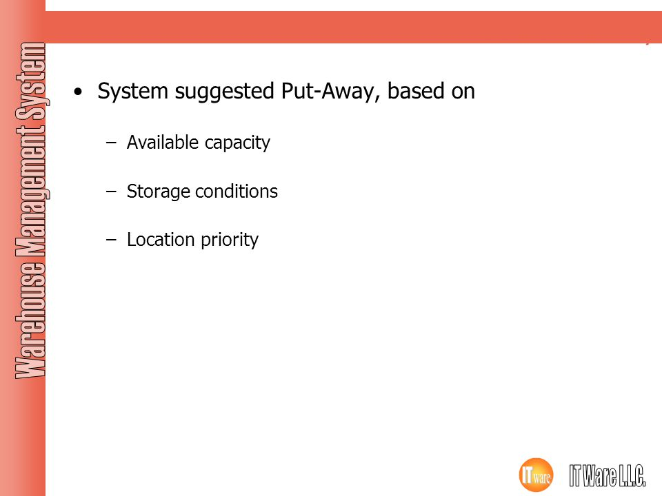 Inbound Putaway System suggested Put-Away, based on Available capacity