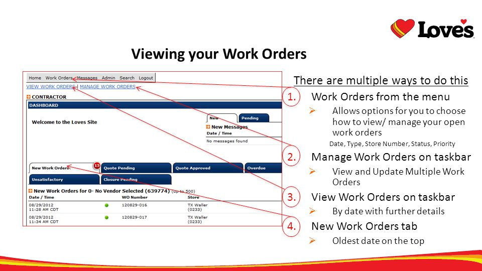 Viewing your Work Orders