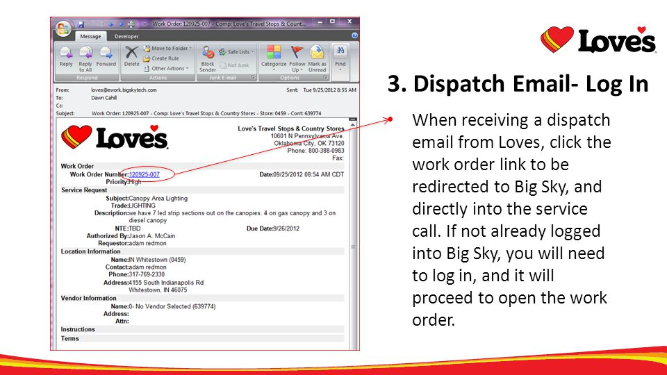 3. Dispatch Email- Log In