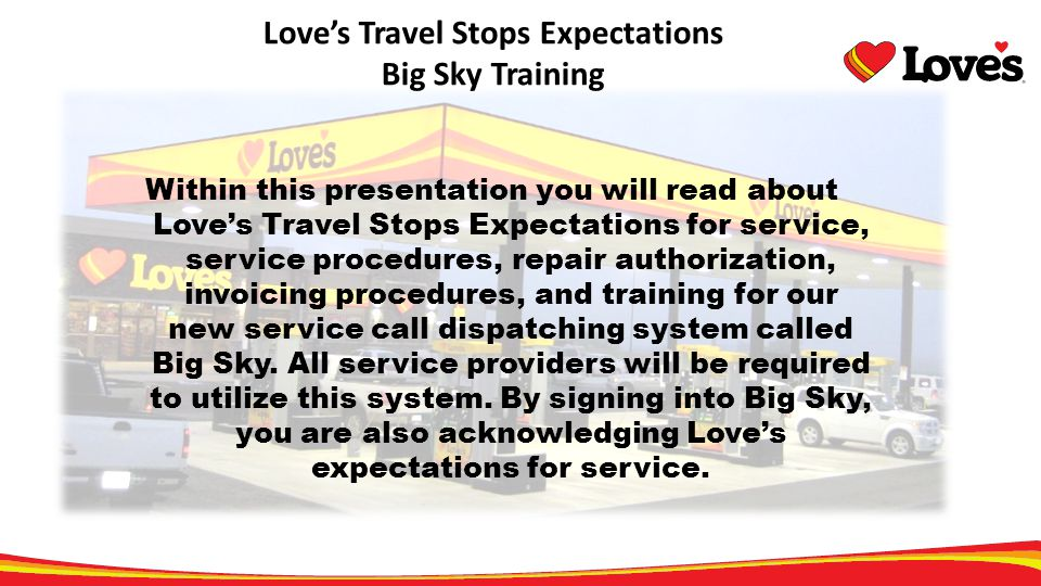 Love's Travel Stops Expectations Big Sky Training