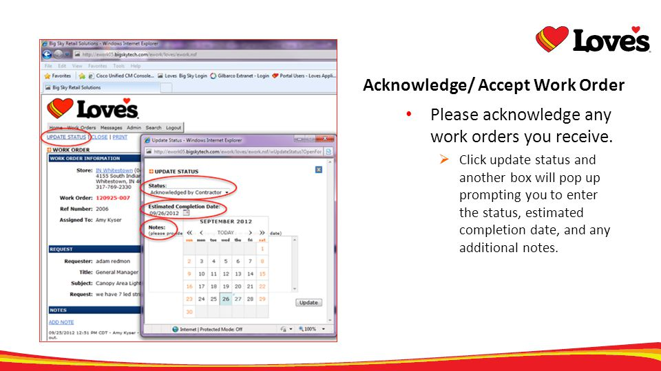 Acknowledge/ Accept Work Order
