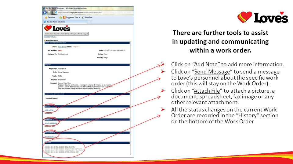 There are further tools to assist in updating and communicating within a work order.