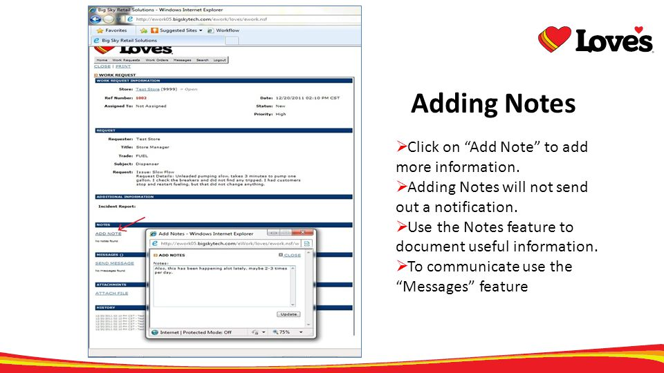 Adding Notes Click on Add Note to add more information.