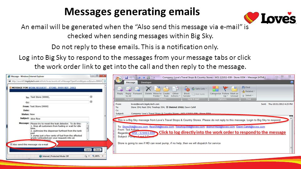 Messages generating emails