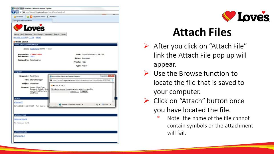 Attach Files After you click on Attach File link the Attach File pop up will appear.