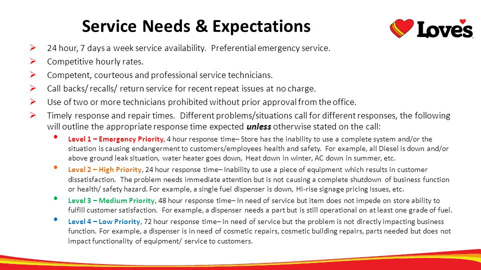 Service Needs & Expectations