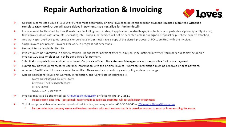 Repair Authorization & Invoicing