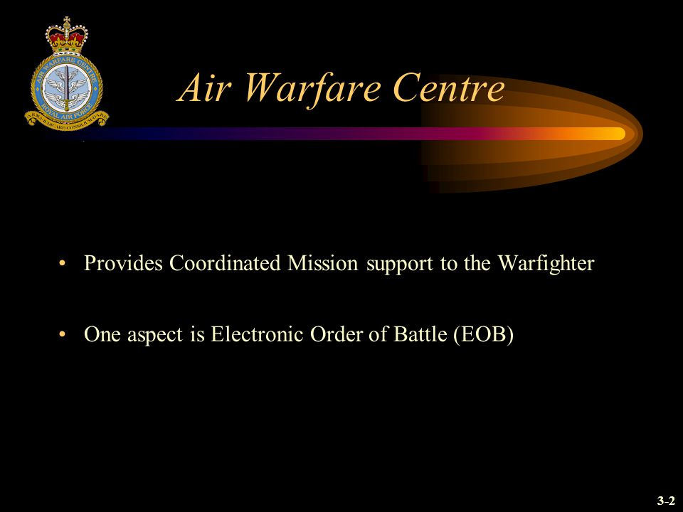 Air Warfare Centre Provides Coordinated Mission support to the Warfighter. One aspect is Electronic Order of Battle (EOB)