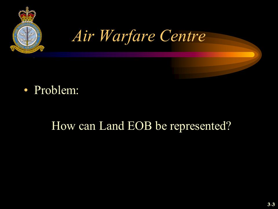 Air Warfare Centre Problem: How can Land EOB be represented 3-3