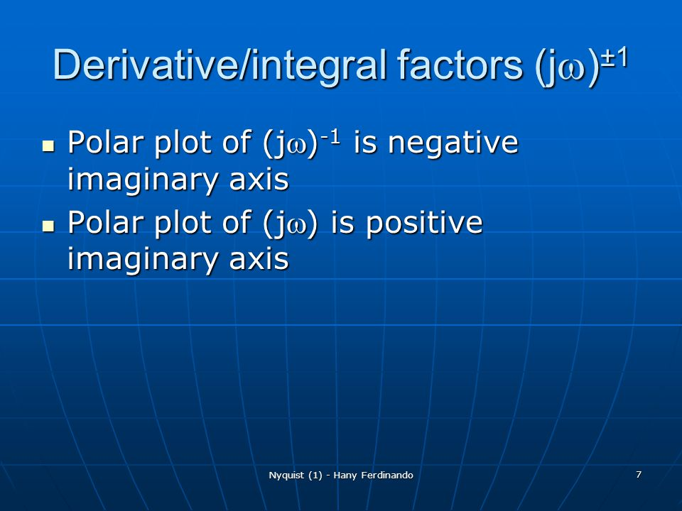 Derivative/integral factors (jw)±1