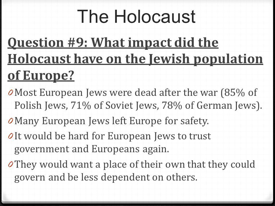The Holocaust Question #9: What impact did the Holocaust have on the Jewish population of Europe