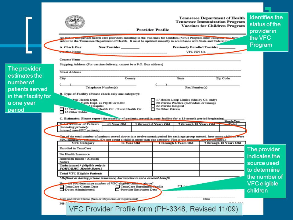 VFC Provider Profile form (PH-3348, Revised 11/09)