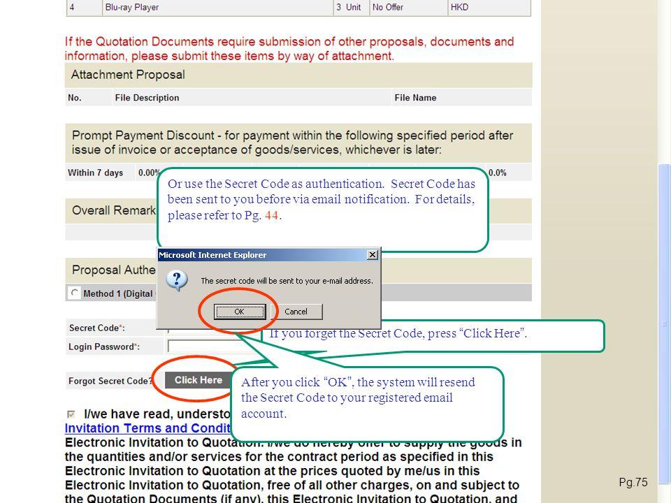 E-Submission Enter Secret Code Enter Login Password