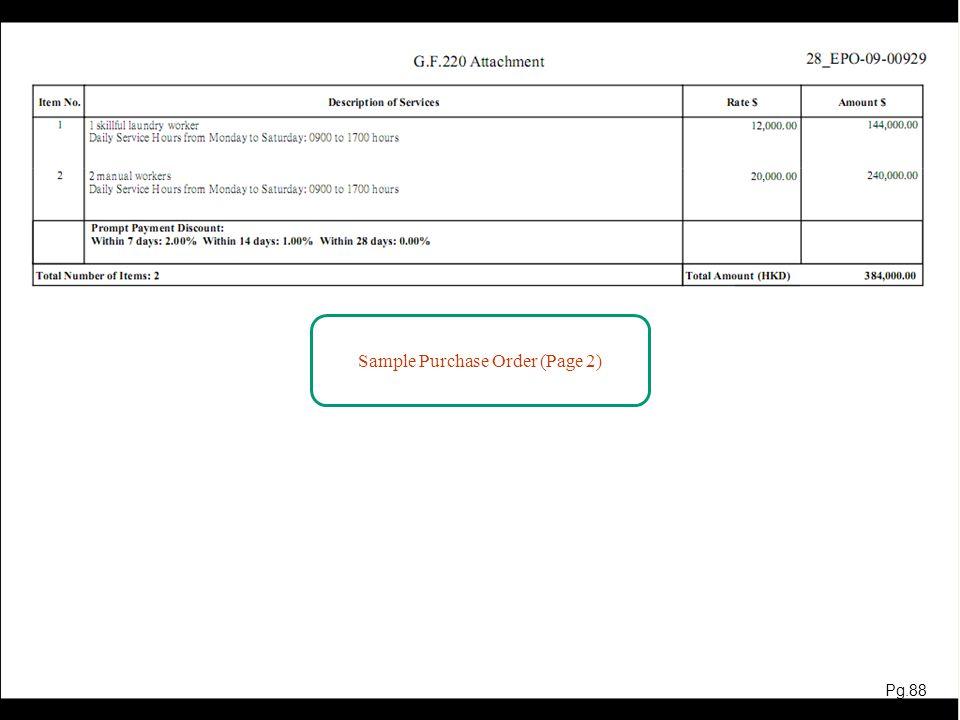 網上報價示範 The Demonstrations of e-Submission and Receive Purchase Order are completed Pg.89 89