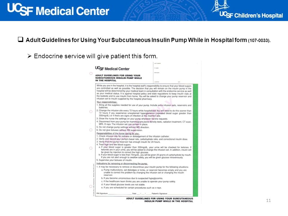 Adult Guidelines for Using Your Subcutaneous Insulin Pump While in Hospital form (107-0033).
