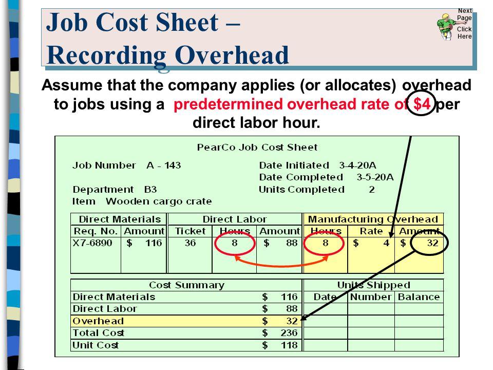 Job Cost Sheet – Recording Overhead
