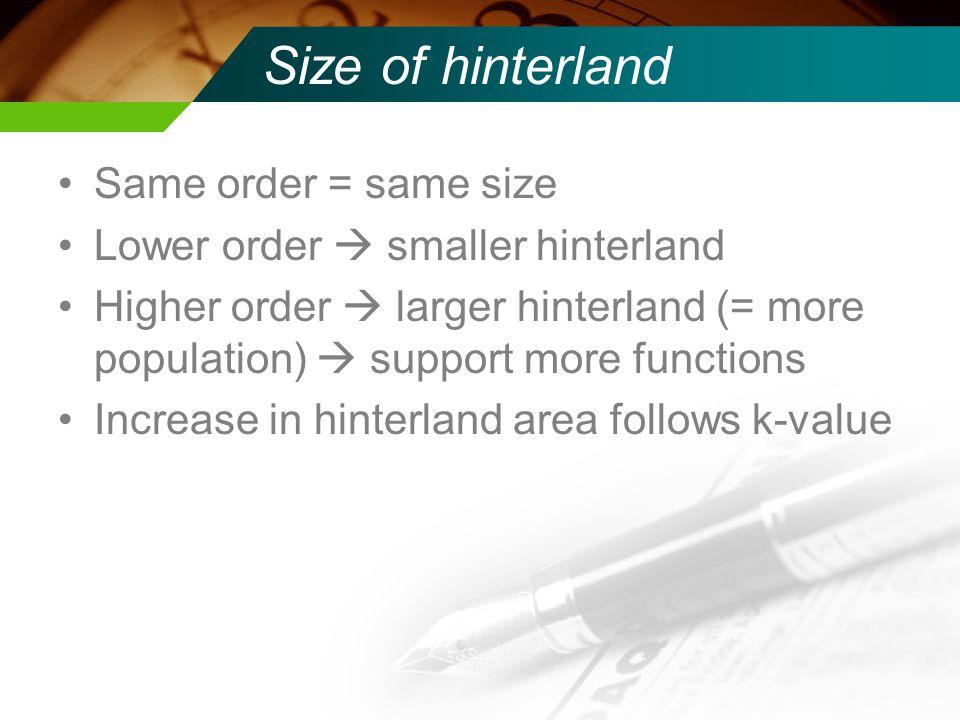 Size of hinterland Same order = same size