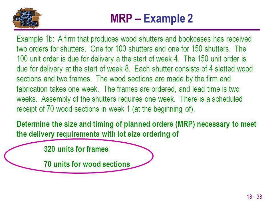 MRP – Example 2