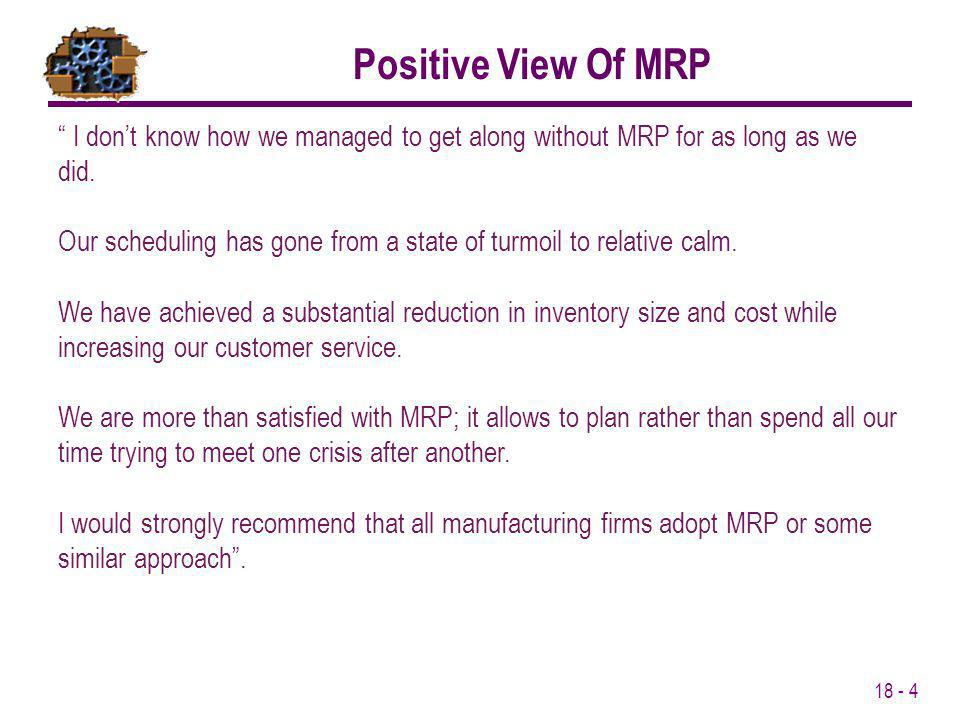 Positive View Of MRP I don't know how we managed to get along without MRP for as long as we did.