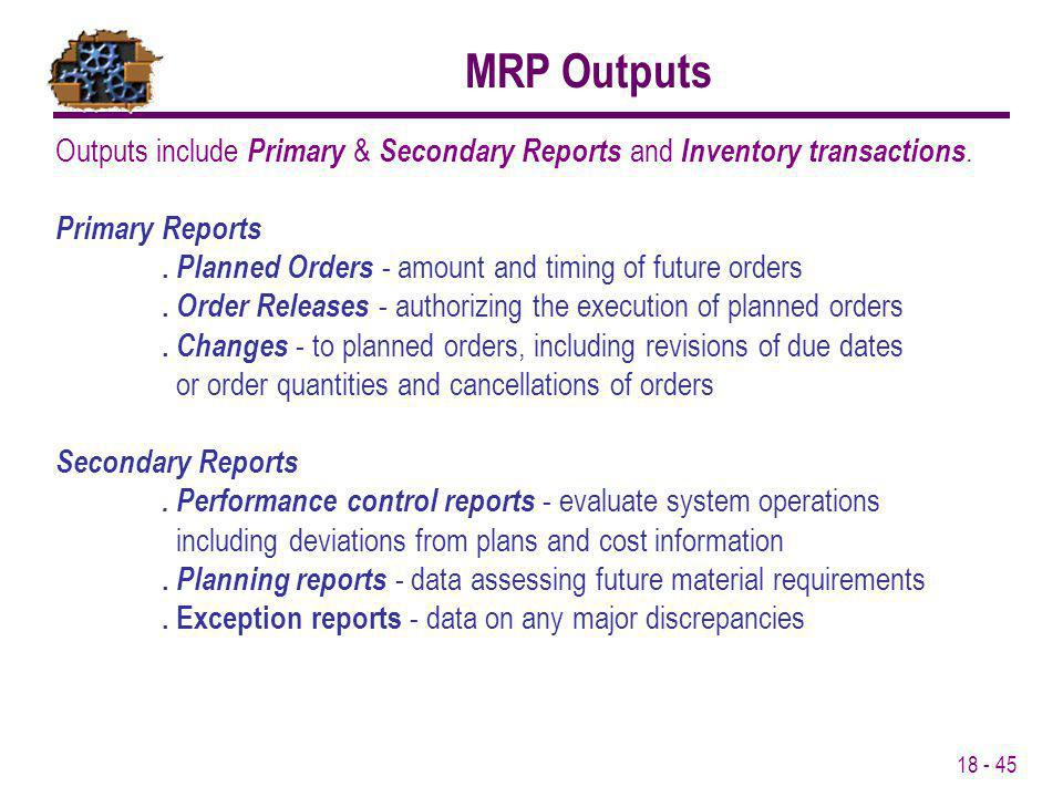 MRP Outputs Outputs include Primary & Secondary Reports and Inventory transactions. Primary Reports.