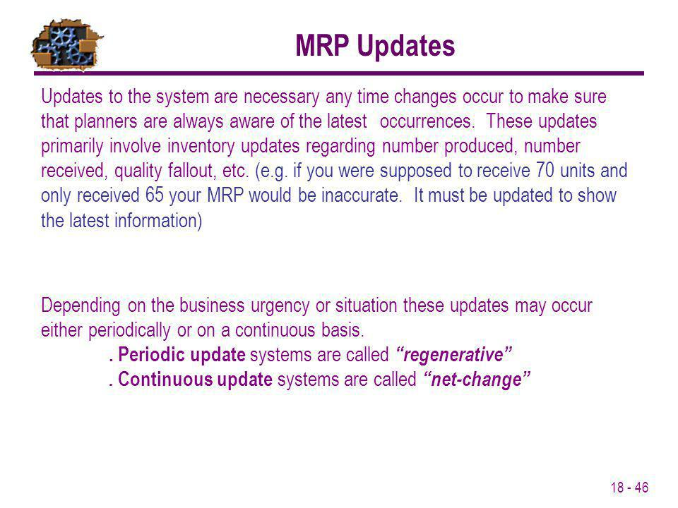 MRP Updates