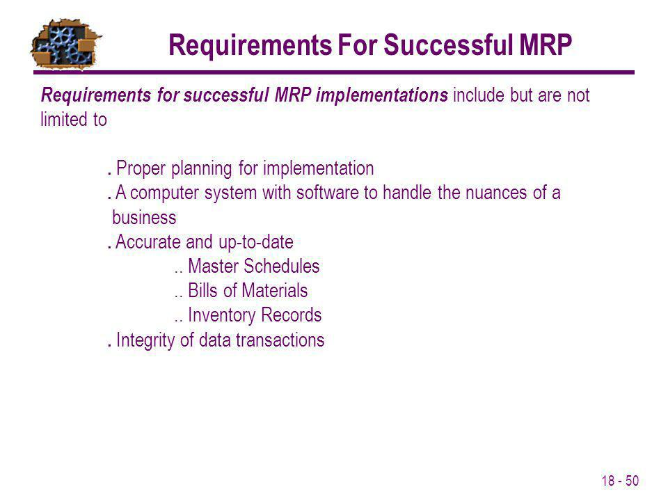 Requirements For Successful MRP