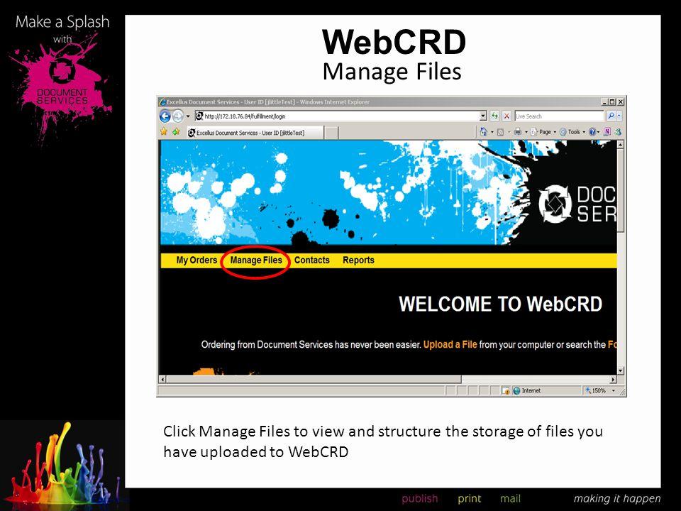 WebCRD Manage Files.