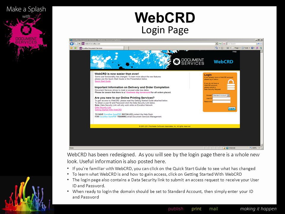 WebCRD Login Page. WebCRD has been redesigned. As you will see by the login page there is a whole new look. Useful information is also posted here.