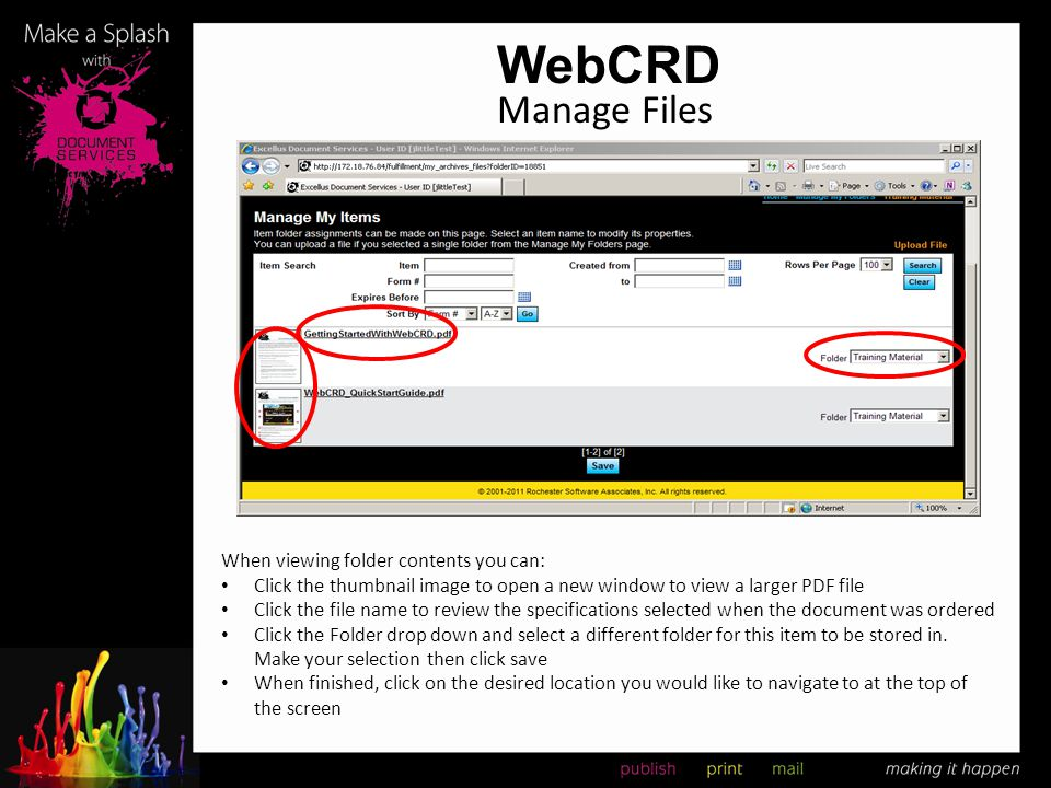 WebCRD Manage Files When viewing folder contents you can: