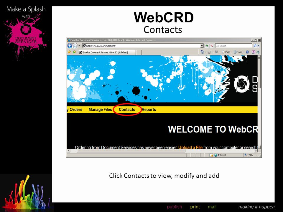 WebCRD Contacts Click Contacts to view, modify and add